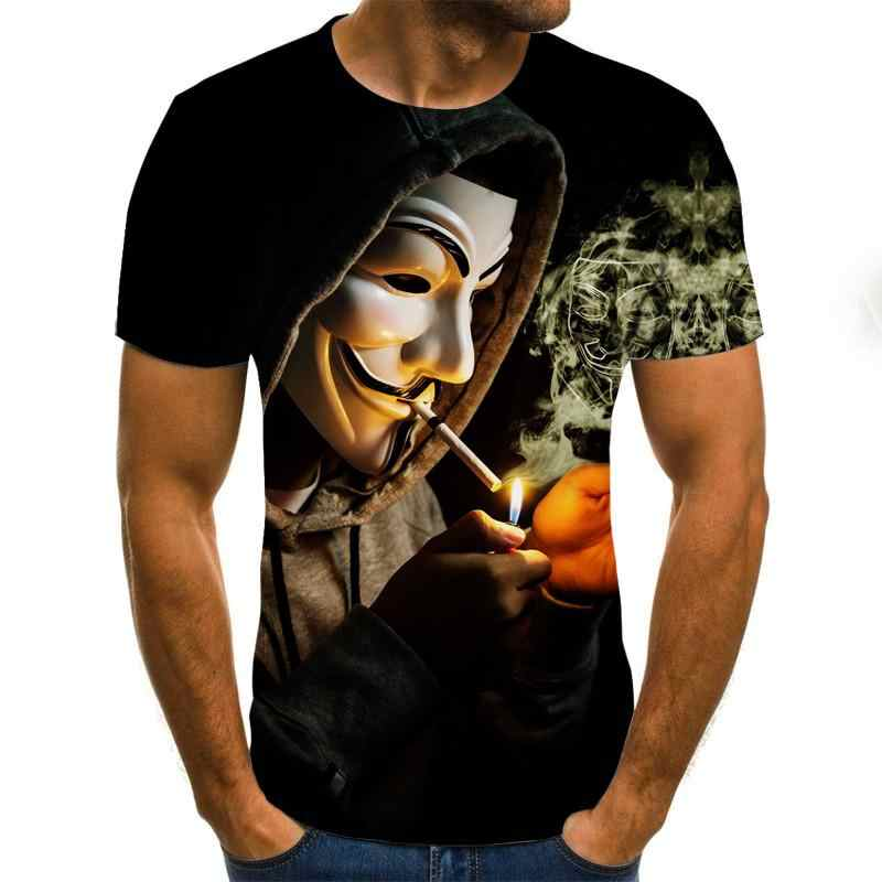 2020 3Dプリントtシャツメンズジョーカーフェイスカジュアルoネック男性tシャツピエロ半袖ユーモアtシャツ 2020 夏tシャツオム