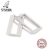 925 Sterling Silver Hoops Earrings Fow Women Ins Concise Aretes Pendientes Plata De Ley 925 Mujer Boucle D'oreille Femme 2019