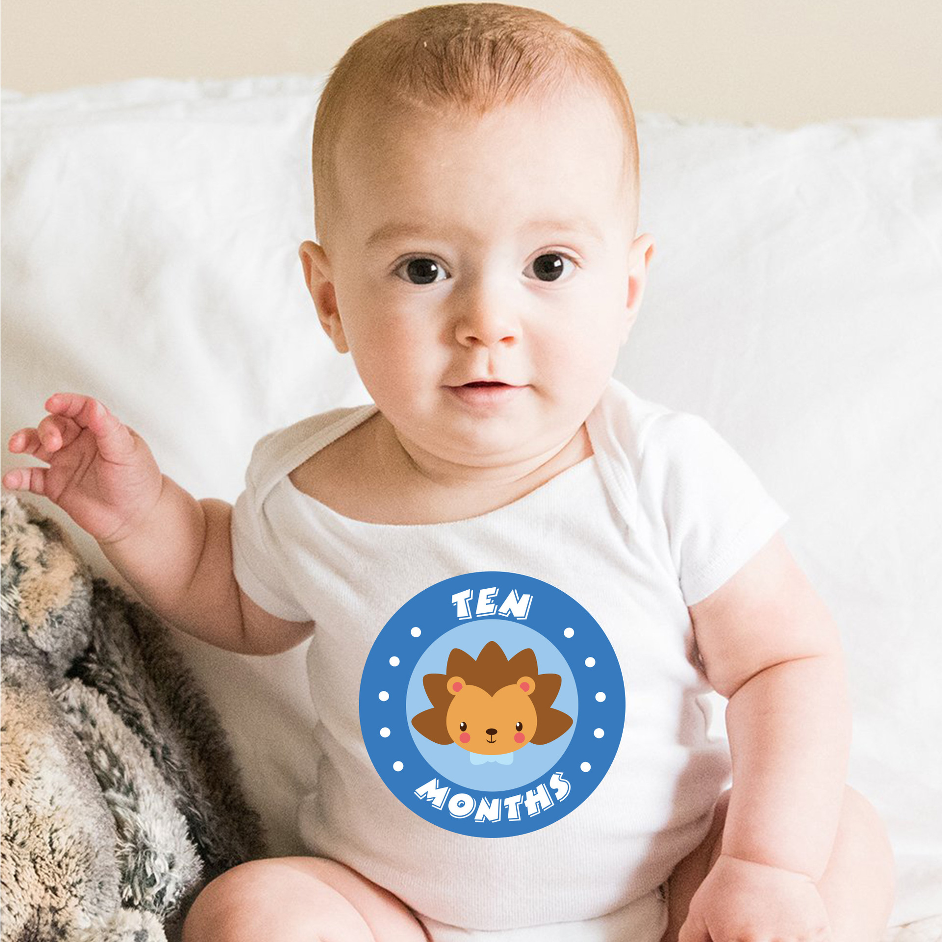 12 Pcs Baby Month Sticker Animal First Year Monthly Milestone Photo Sharing Baby Belly Stickers 1-12 Months Baby Growth Album