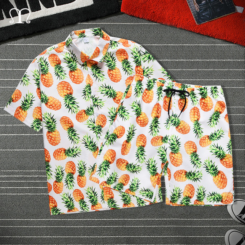 Summer Men Shorts Set Fashion Beach Pineapple Shirt Shorts Surfing Bermudas Masculina Print Men Boardshorts Two Pieces Tracksuit