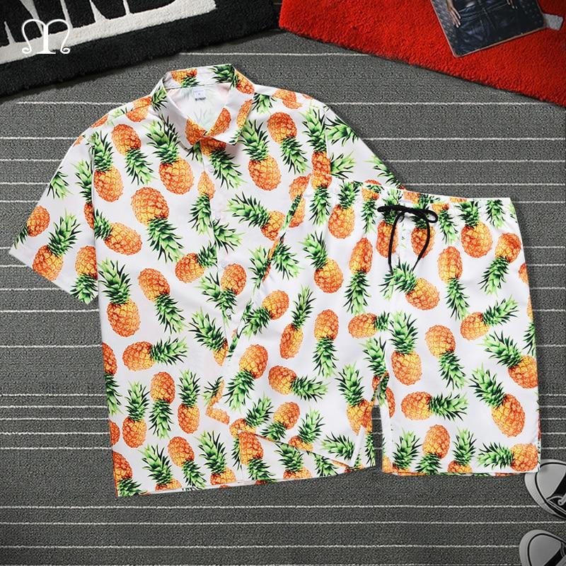 Summer Men Shorts Set Fashion Beach Pineapple Shirt Shorts Surfing Bermudas Masculina Print Men Boardshorts Two Pieces Tracksuit