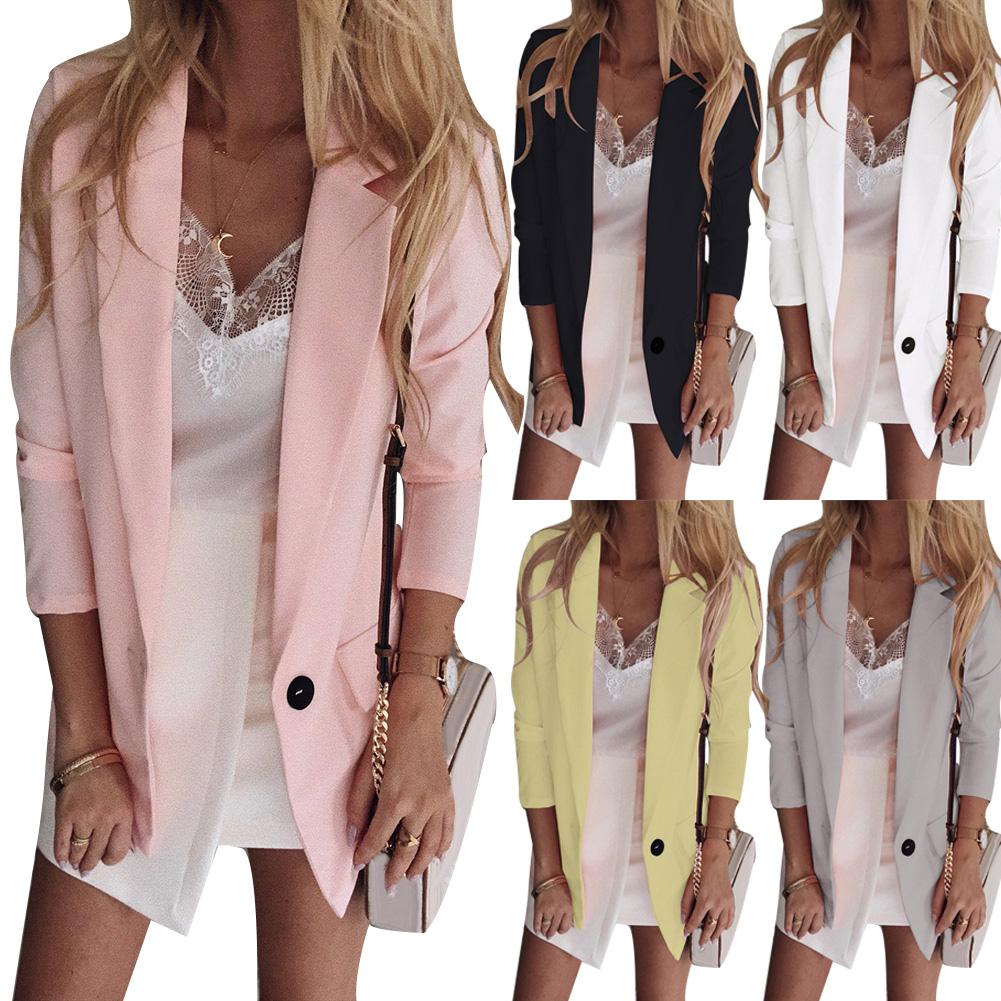 Hot Plus Size Office Lady Solid Color Single Button Blazer Long Sleeve Suit Jacket