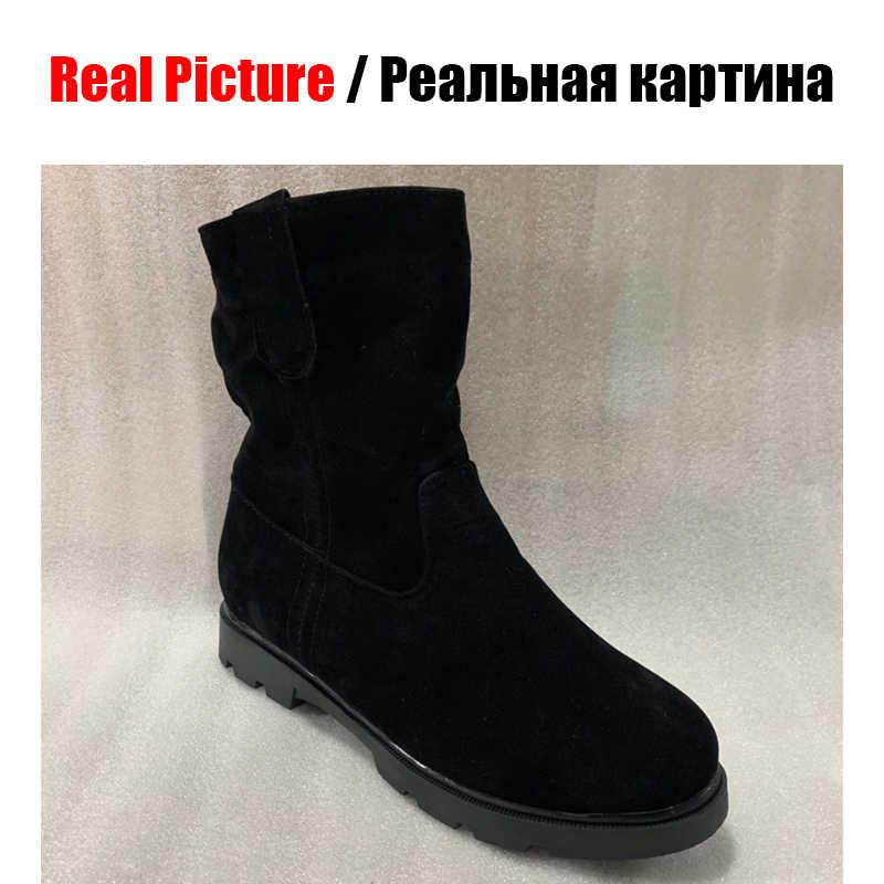 BONJOMARISA sıcak satış büyük boy 33-43 slip-on siyah Platform patik kadınlar 2019 kış kaymaz yarım çizmeler sıcak kürk ayakkabı kadın