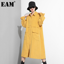 Big-Size Dress New Yellow Spring Long-Sleeve Fit-Fashion Blue EAM Women Loose Pocket