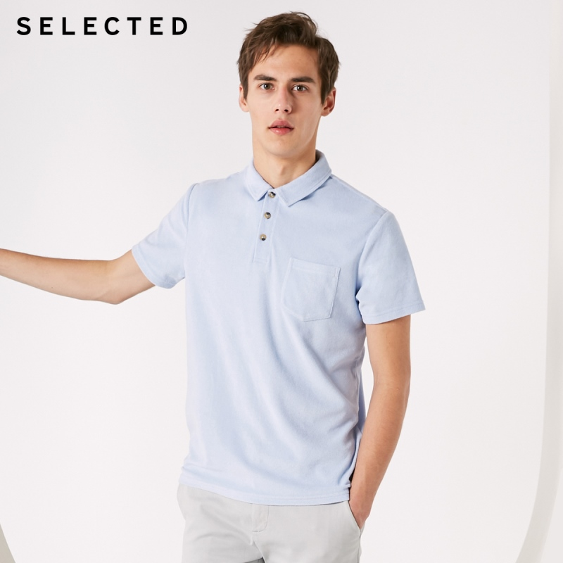 SELECTED Men's Pure Color Short-sleeved Turn-down Collar Poloshirt S|419106503