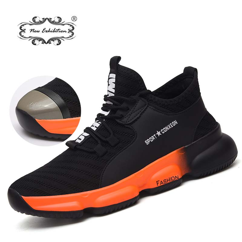 New Exhibition Men Work Safety Shoes 2019 Fashion Outdoor Steel Toe Cap Anti-smashing Puncture Proof Construction Sneakers Boots