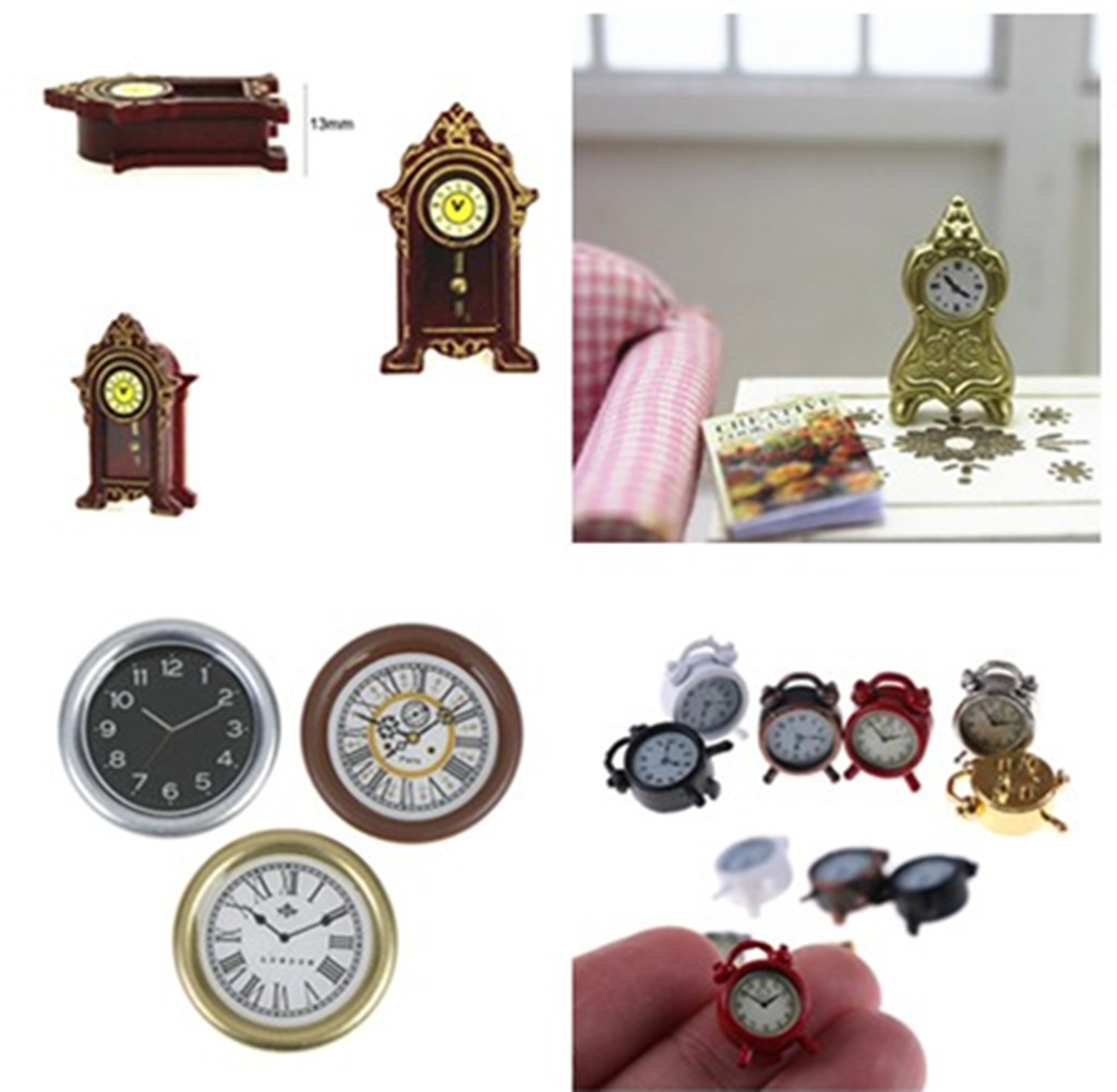 <font><b>1:12</b></font> Scale Resin <font><b>Dollhouse</b></font> Miniature Wall Clock Play Doll House <font><b>Miniaturas</b></font> Pretend Play Furniture Toy Home Decor Accessories Toy image