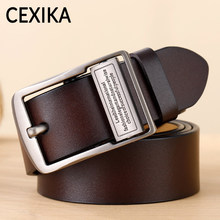 CEXIKA Men's Belt Plus Size 130 140 150 160 170 Real Cowskin Genuine Leather Belts for Men Pin Buckle Waist Cinturones Hombre