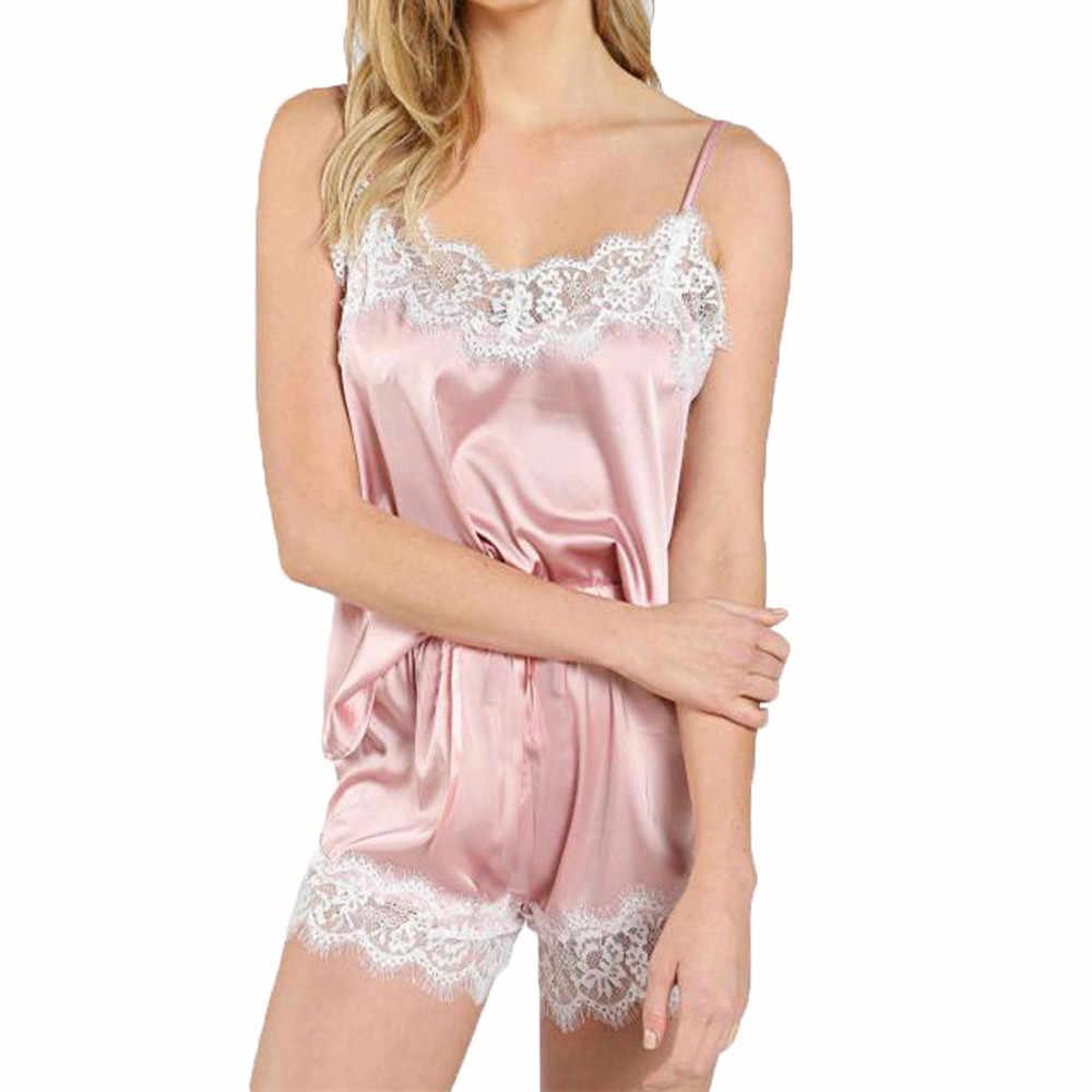 Pijama kadın yaz seksi iç çamaşırı kirpik dantel saten ipek Patchwork Pijama kadın iç çamaşırı takımı Pijama Mujer Dropshipping #