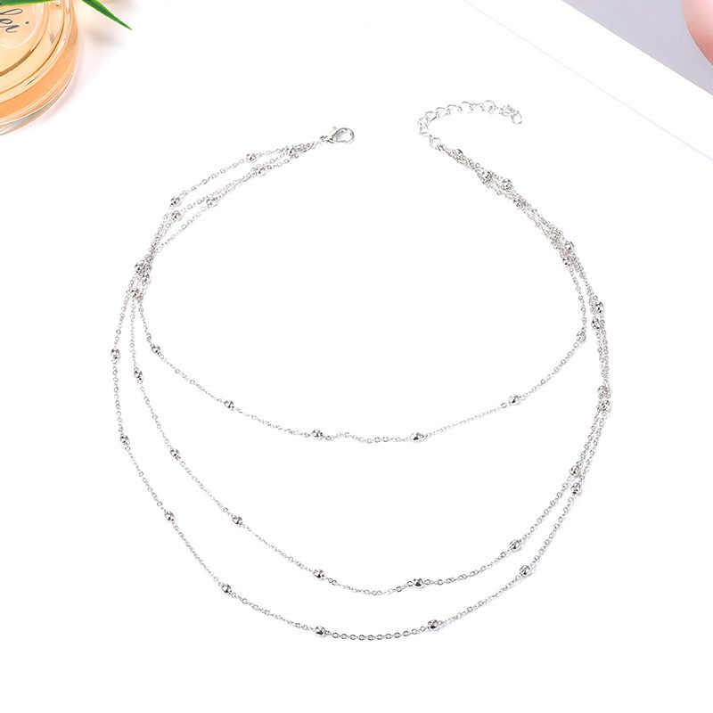 Simple mode 3 couches or collier ras du cou pour les femmes géométrique femme chaîne colliers dames multicouche fête bijoux cadeaux