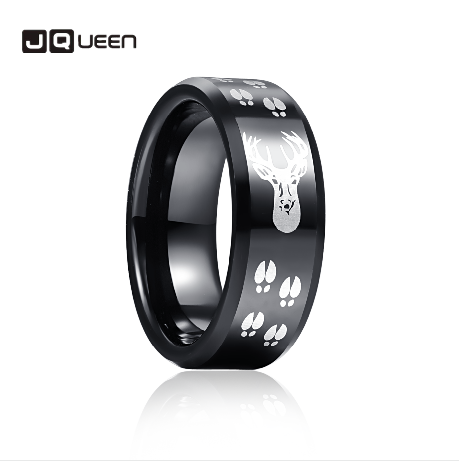 JQueen 8mm Black Black Elk Tungsten Carbide Ring Wedding Band for Men Comfort Fit Rings Engagement Jewelry