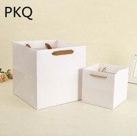 Florist Fresh flower Carrier Bag 20pcs/lot Square Flower Gift Paper Bag Flower Packaging Boxes Wedding party favors supplies
