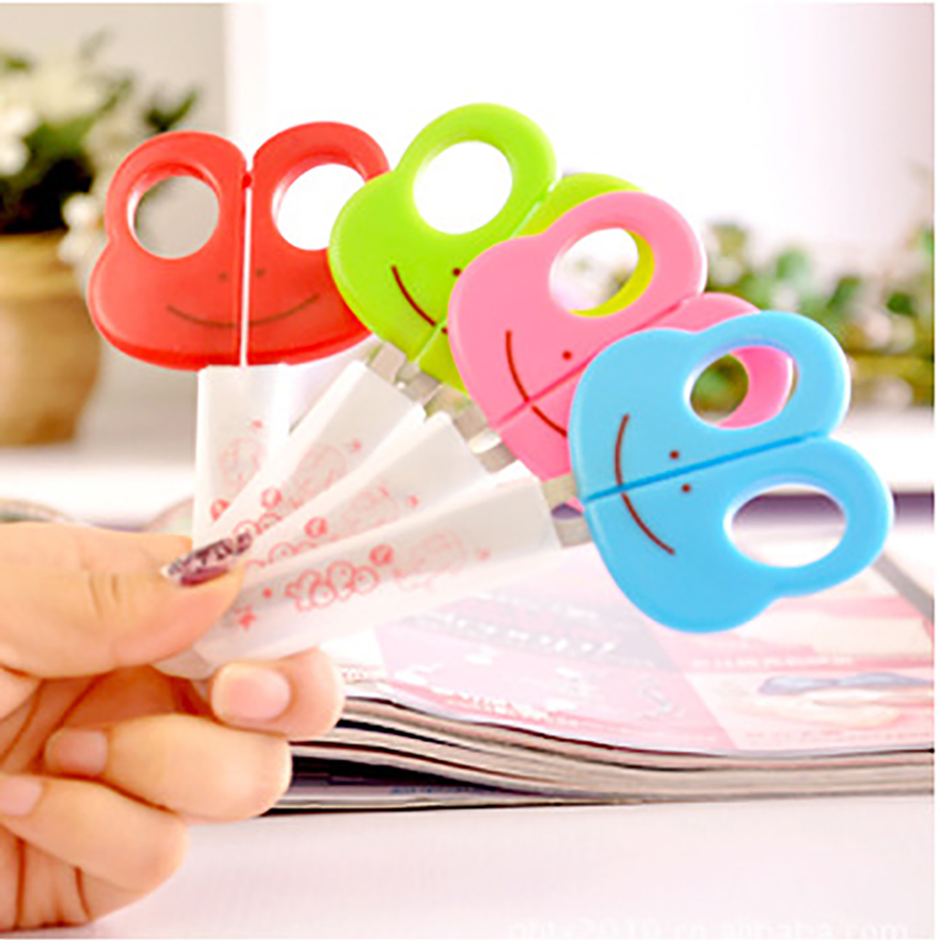 Cartoon Animals Students Scissors Stationery Paper Cutter DIY Craft Shear Kids Plastic Safe Scissors School Office Supplies