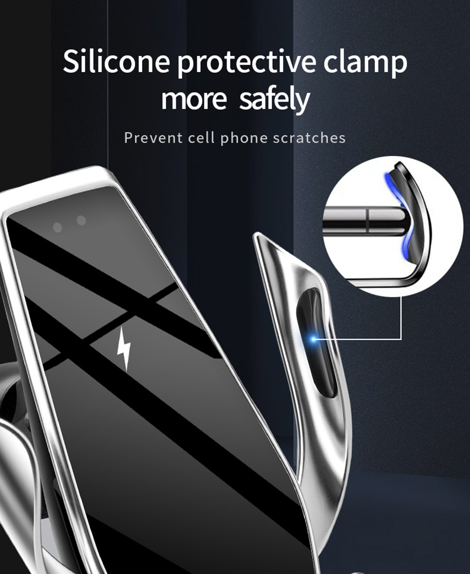 15W Wireless Charger Automatic Clamping Car Phone Holder foriphone 11 pro 11 forSamsung S10 Note10 Qi Fast Charger