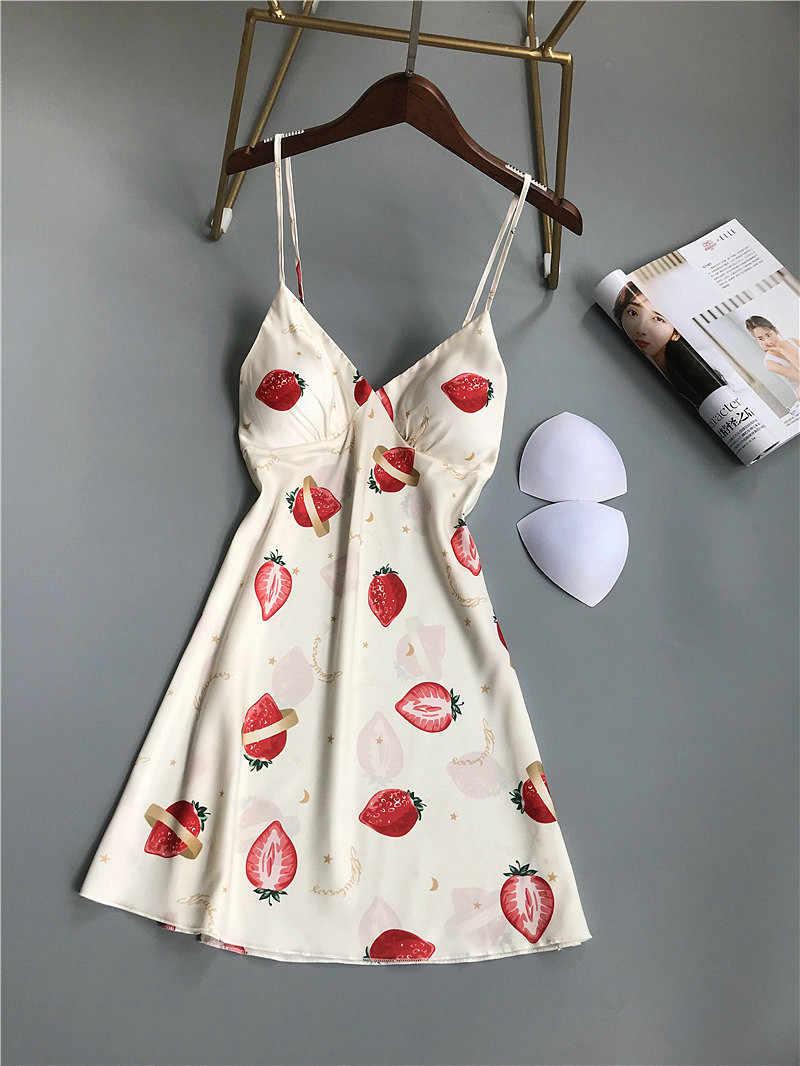 Drucken Nette Rosa Erdbeere Frauen Spaghetti Strap Nachthemd Sexy Nachtwäsche Slip Kleid Tiefe V Spitze Dessous Faux Seide Nacht Kleid