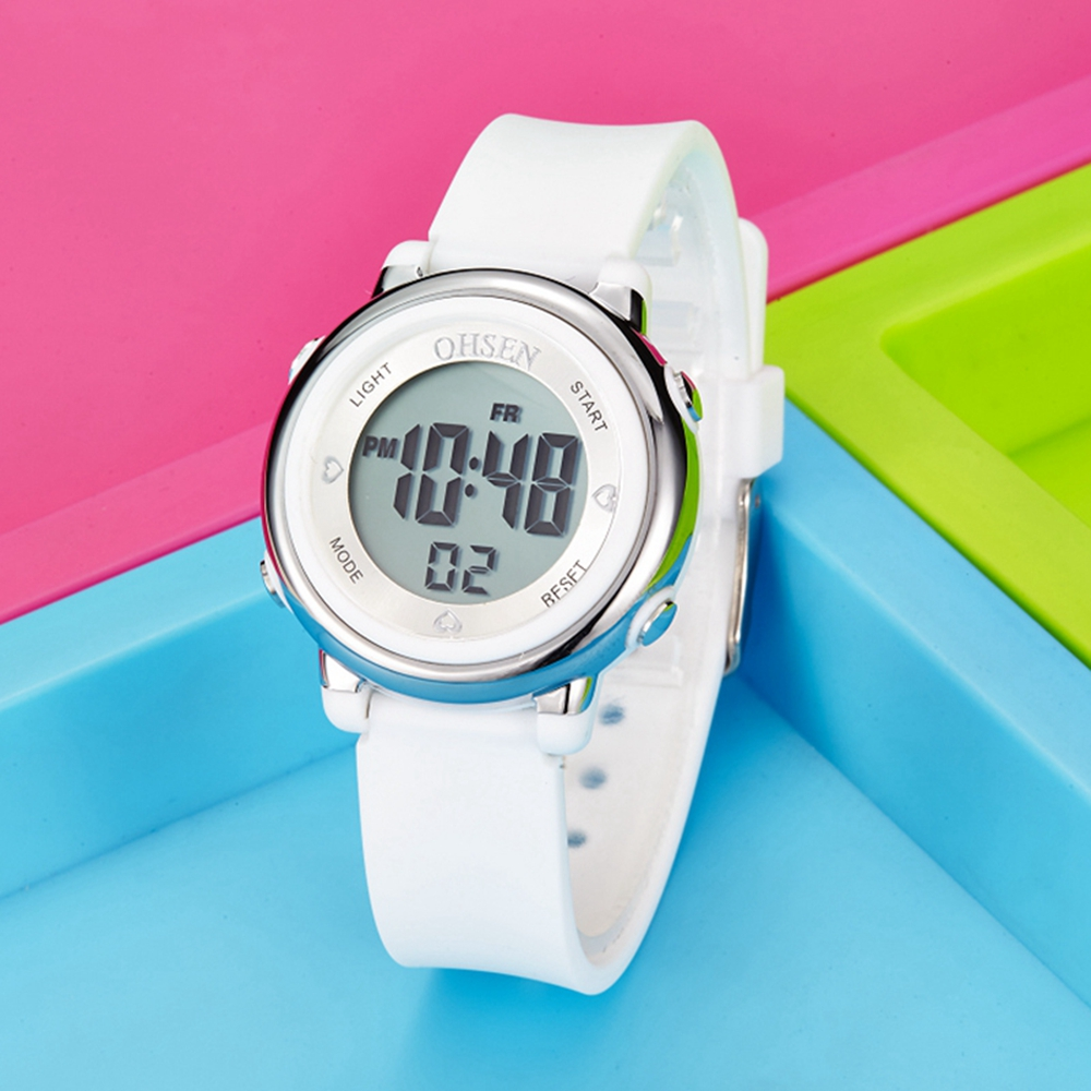 OHSEN Digital Kids Girl Watch Fashion Waterproof White Silicone Children Wristwatch 7 colors LED Sport Boys Watches Stopwatch