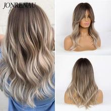 JONRENAU — Perruque synthétique blonde platine, 16 pouces, cheveux ondulés naturels, longue ombrée brune à couleur mixte pour femmes blanches/noires