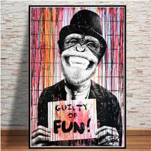 Nowoczesny abstrakcyjny Graffiti śmieszne małpa wydruki na płótnie malarstwo ścienne sztuka na plakaty i druki zdjęcia zwierząt do salonu tanie tanio CN (pochodzenie) Płótno wydruki Pojedyncze Wodoodporny tusz Streszczenie Unframed Nowoczesne PF3146 Malowanie natryskowe