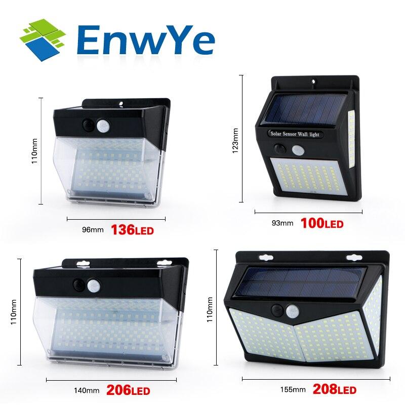 EnwYe 208 LED Solar Light Outdoor Solar Lamp Powered Sunlight Waterproof PIR Motion Sensor Street Light for Garden Decoration