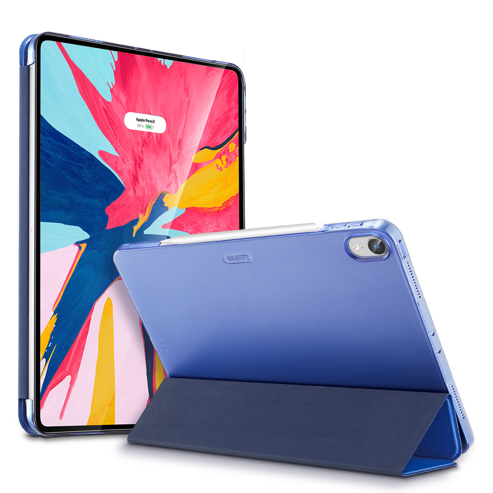 Blue Multi-color PU and Transparent Back Ultra Slim with Trifold Smart Case for iPad Pro 11 2018 A2013, A1934, A1979, A1980