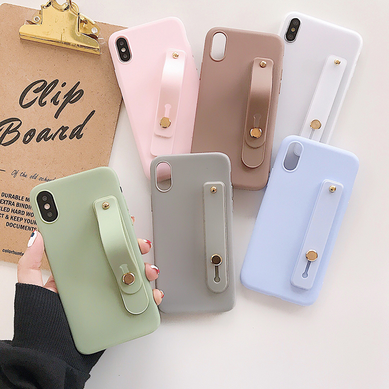 Simple Stand TPU Matte Cover For Motorola Moto G8 Power G7 Plus G6 G5S G5 E6 E5 Play E4+ X4 C Wrist Strap Hand Band Case
