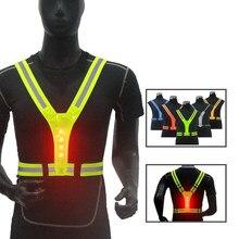Led ciclismo colete de alta visibilidade ao ar livre correndo ciclismo reflexivo segurança colete ajustável cinta elástica