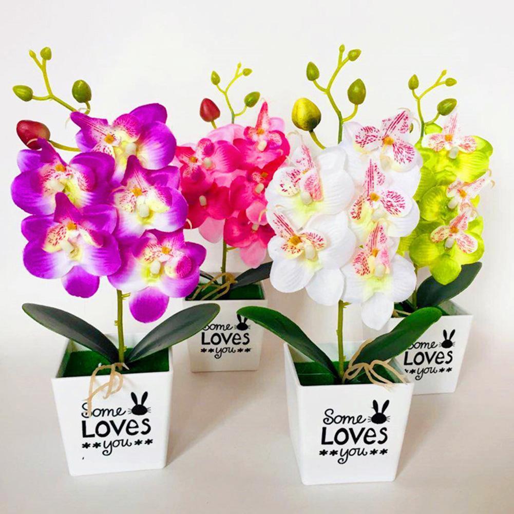 1 шт горшечных ручной работы искусственная Орхидея, бабочка карликовые деревья, украшение из искусственных цветов для ПВХ имитация растени...