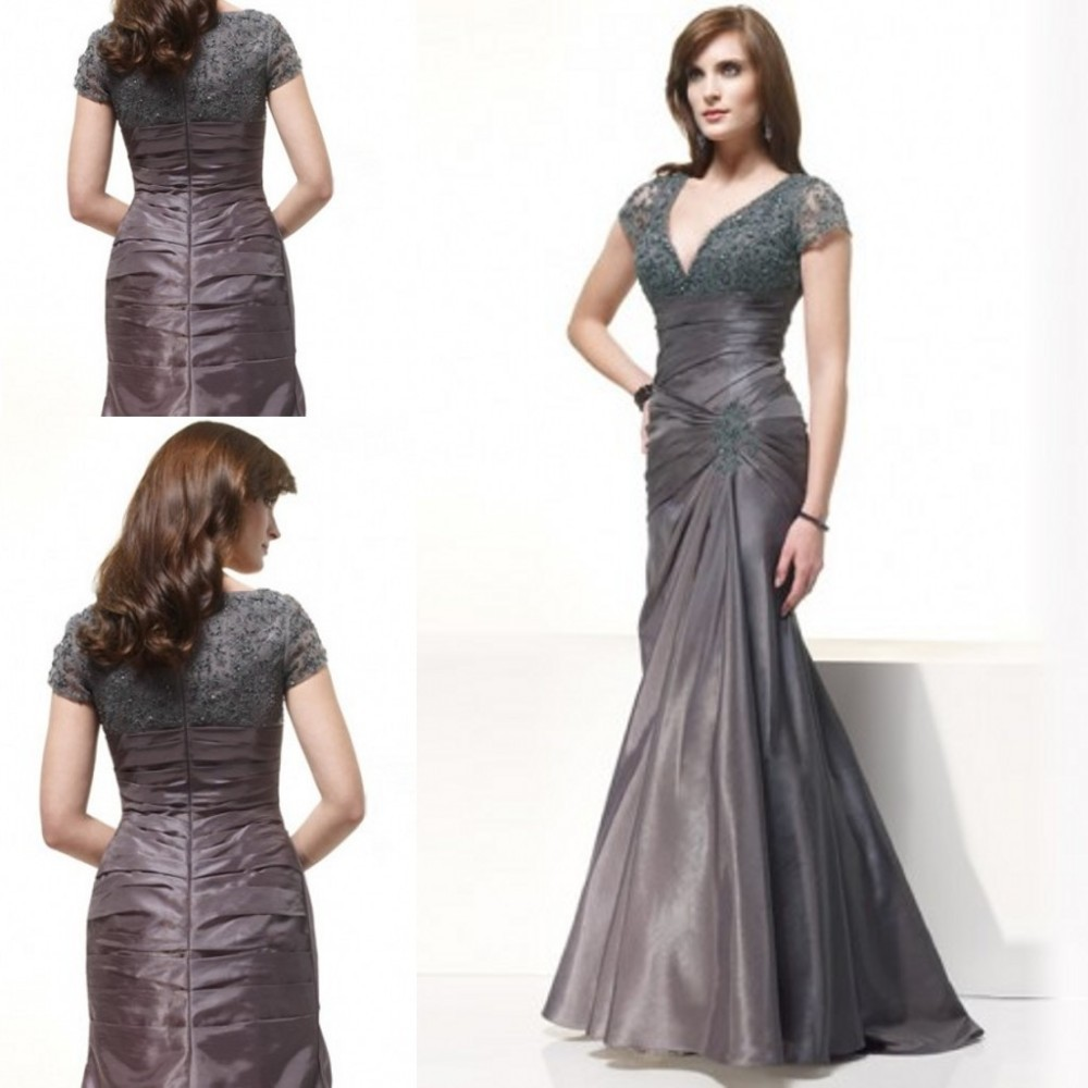 2016 V-Neck Sexy Mermaid Floor-Length Taffeta Short Sleeve Mother Of The Bride Dress Lace Beaded Long Mother Gowns ZM092
