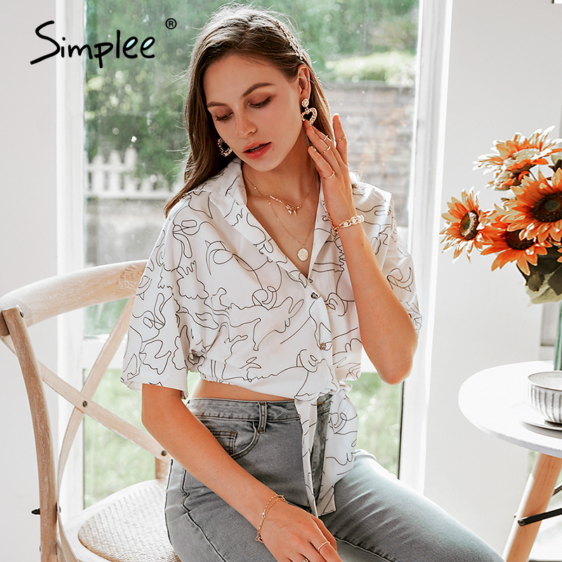 Simplee Holiday Summer Stick Figure White Women Blouses Shirt Sexy Streetwear High Fashion Female Tops Casual Bow Button Blusas