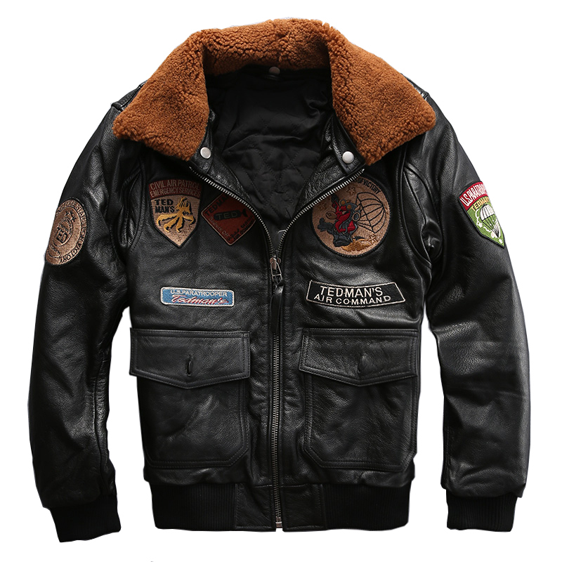 Read Description! Asian Size Men's Cow Leather Fur Collar Outwear Mens Cowhide Genuine Leather Embroidery Rider Jacket 8131