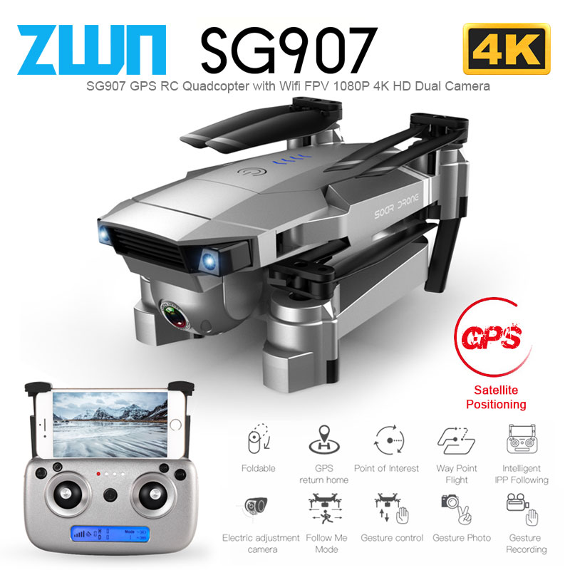 ZWN SG907 SG901 GPS RC Quadcopter With Wifi FPV 1080P 4K HD Dual Camera Optical Flow Drone Follow Me Mini Dron VS SG106 E502S