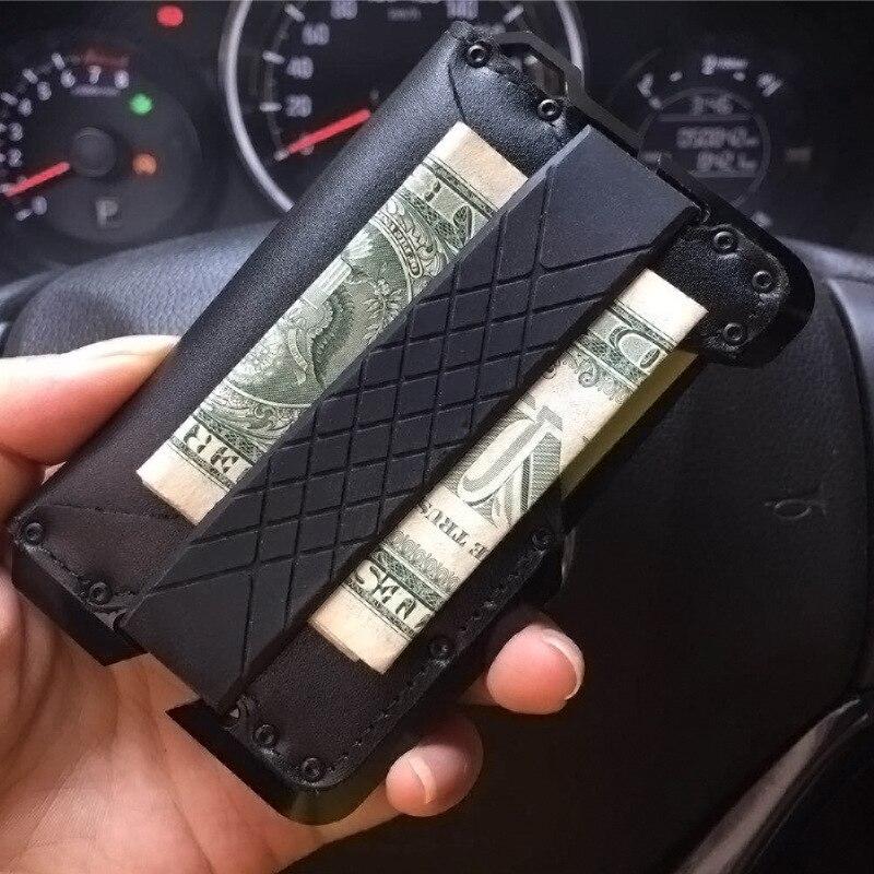 BISI GORO Genuine Leather Security Travel Passport Holder RFID Blocking Card Wallet Vintage Pop-Up Aluminum ID Case Protector