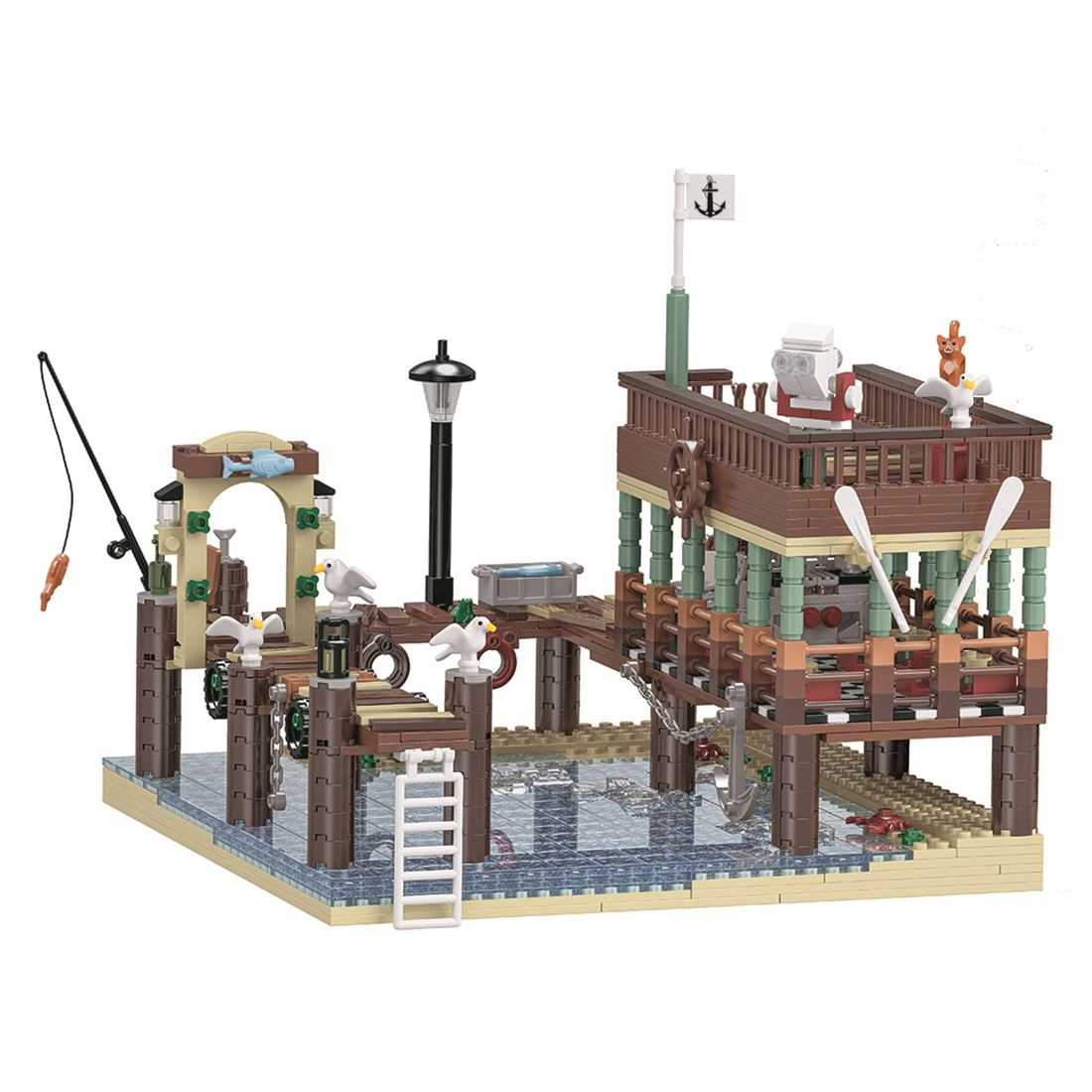 MOC City Series 1394Pcs Small Particle 3D Street View Fish House Pier Building Blocks DIY Assembly Construction Kit For Fun