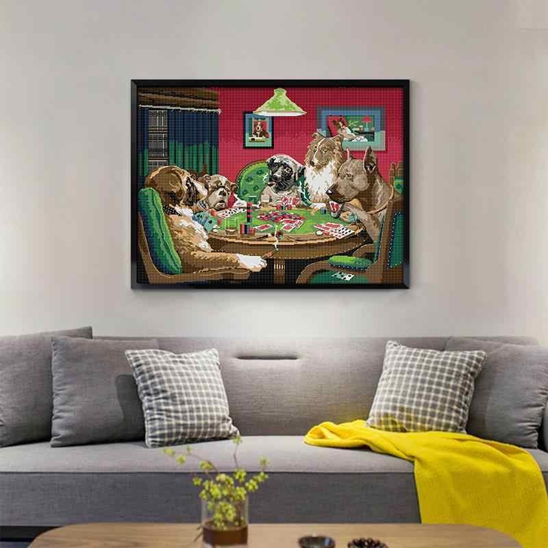 Игра собаки, картина крестом, набор 14ct 11ct, подсчет, печать на холсте ткани, сделай сам, вышивка с животными, набор для украшения дома