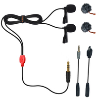 COMICA CVM D02 Dual head Lavalier Microphone for DSLR Camera Sony A7R A6300 phone GoPro 3/4/5 for Interview Vlogging youtube etc
