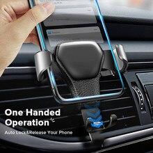 Universal suporte do telefone do carro para o iphone samsung suporte do telefone celular móvel suporte de montagem de saída de ar gravidade sensing aperto automático