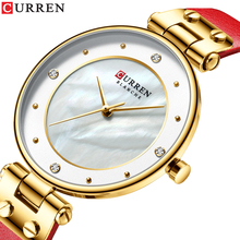 CURREN Quartz Watches For Women 2019 Fashion Design Leather Strap Reloj Pulsera Mujer Luxury Ultra-Thin Sport Waterproof