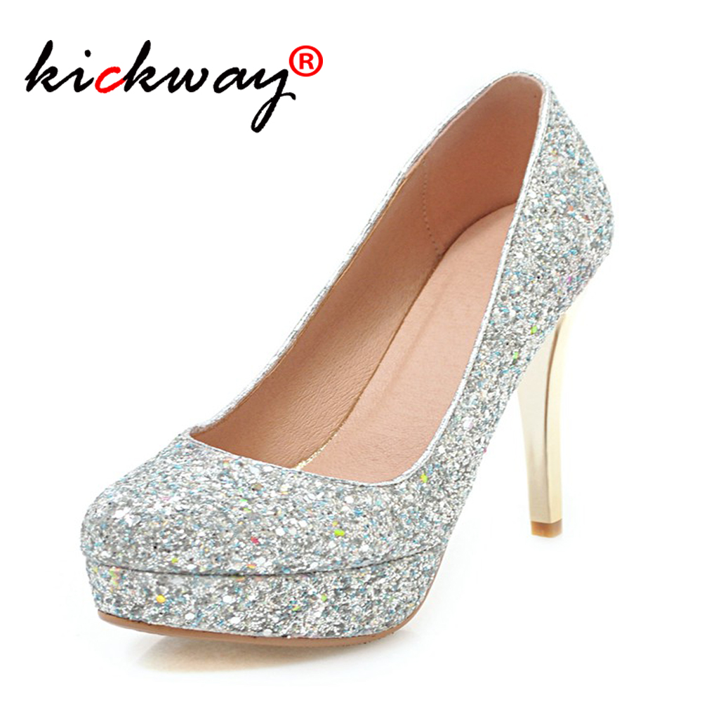 Women high heels platform pump <font><b>shoes</b></font> fashion high heels wedding Bling women heels Glitter woman pumps Woman <font><b>Shoes</b></font> <font><b>large</b></font> <font><b>size</b></font> 43 image