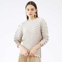 T Shirt For Women 45 75KG Large Size Autumn Winter 2020 Skin Texture Elastic Miyake Pleated Round Neck Loose Print Tops Female