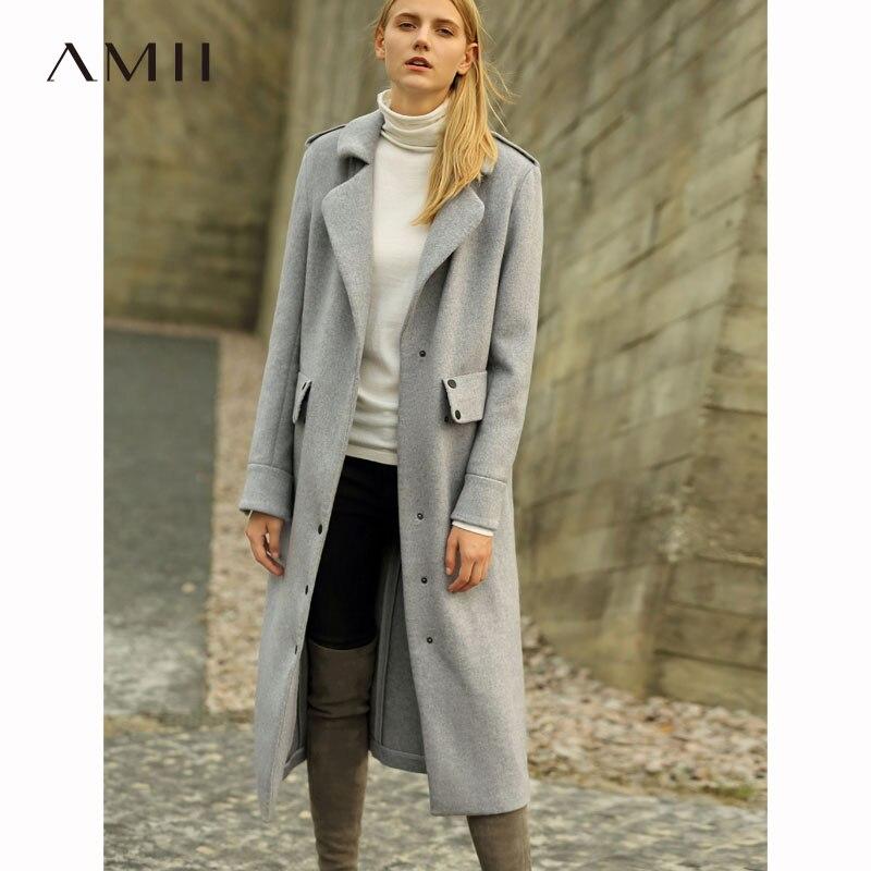 Amii Minimalist Lapel Woolen Coat Winter Women Solid Button Female Long Jackets 11787827