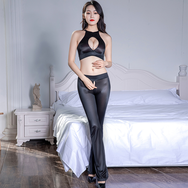 Super Thin Transparent Sexy Clubwear Leggings See Through Oil Glossy Shiny Zipper Open Crotch Flare Pants Elastic Hollow Top Set 3