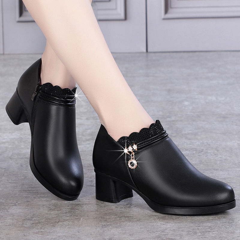 Fashion Women Pumps Shoes Woman Leather Wedges Thick High Heels 5cm Ladies Casual Comfortable Womens Martin Boots Wedding Shoes