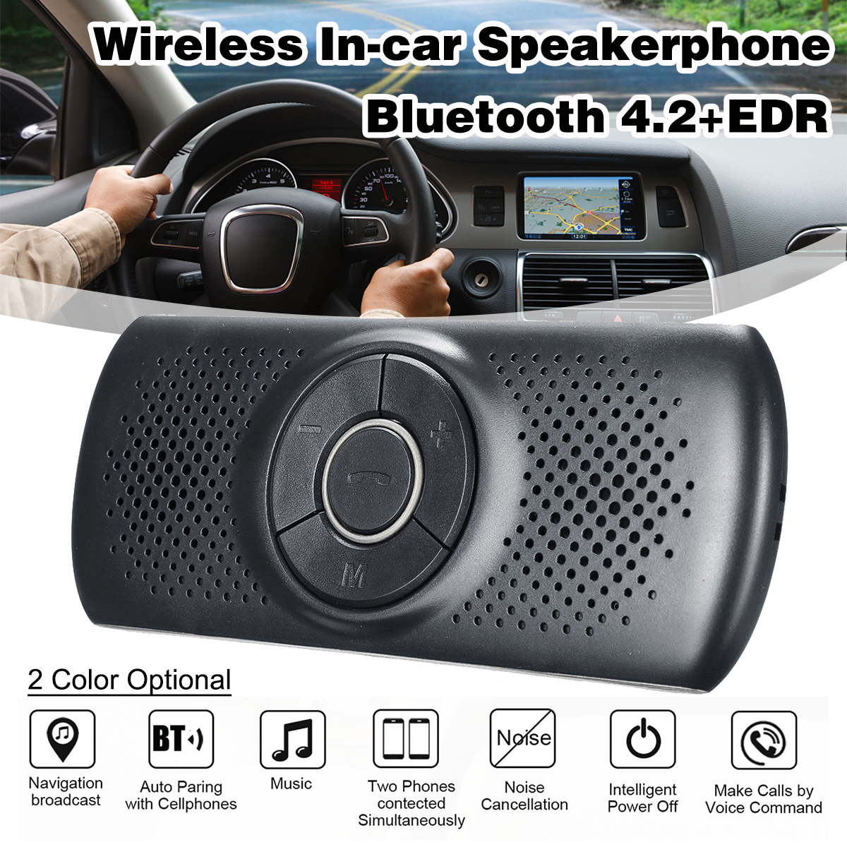 Wireless bluetooth Car Kit Set Handsfree Speakerphone Multipoint Sun Visor Speaker For Phone Smartphones Car Charger Hands Free