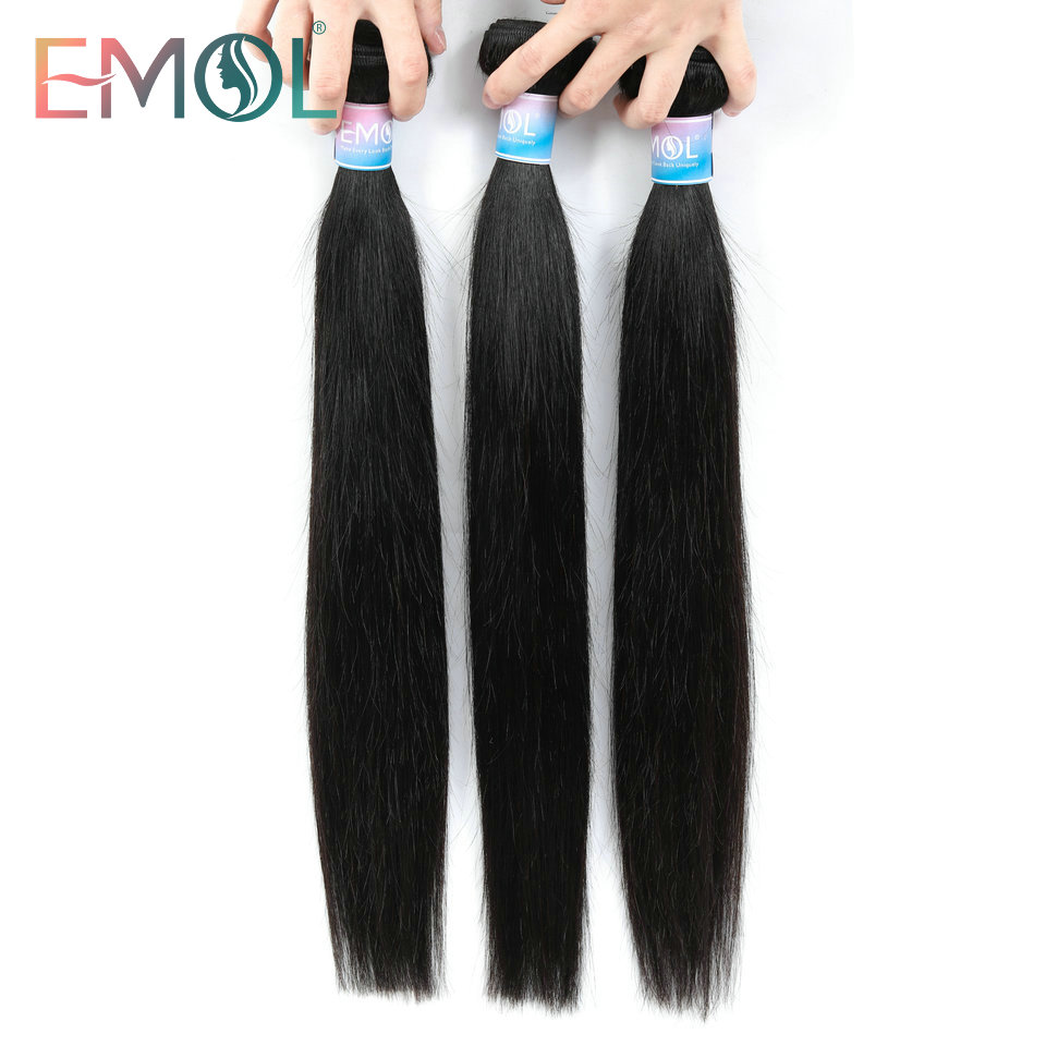 Emol Indian Hair Bundles Non-Remy Straight Human Hair Weave Bundles Double Weft Hair Extensions