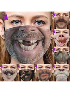 Respirators-Mask Halloween-Mask Face-Cover Mustache Beard Fabric Custom-Printed Comfortable