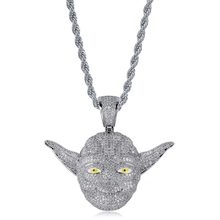 Master Yoda Pendant & Necklace 18k Gold Plated Lab Diamond Iced Out Chain Bling Fashion Hip Hop Jewelry(China)