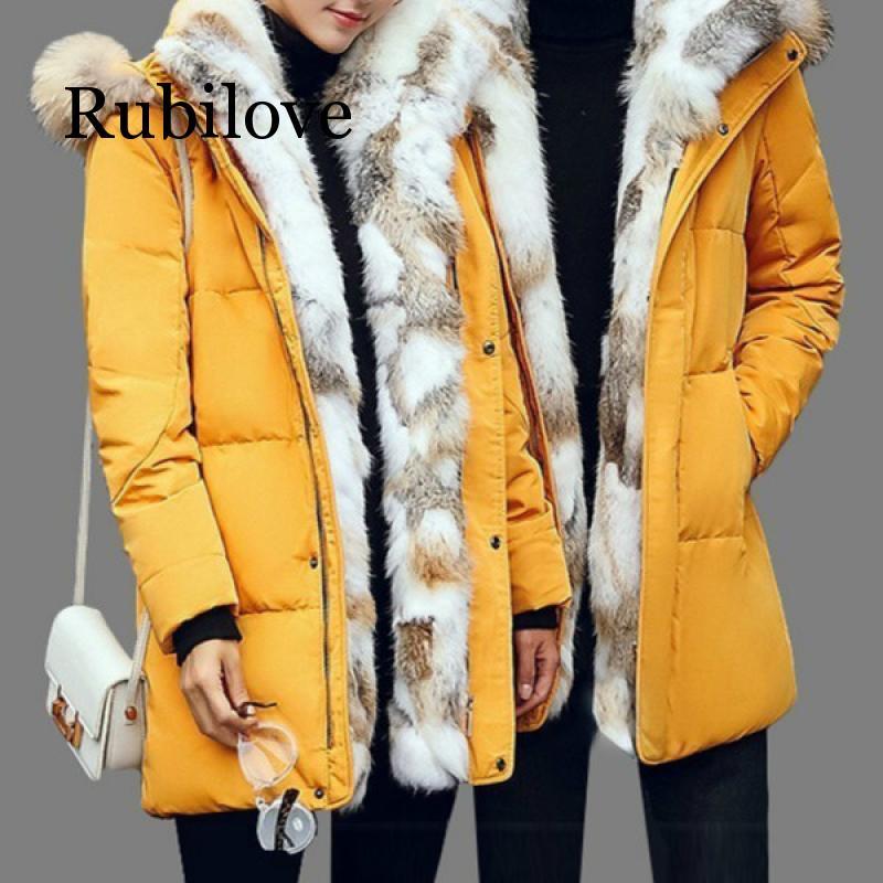 5XL blanc canard doudoune 2019 femmes hiver plume d'oie manteau longue fourrure de raton laveur Parka chaud lapin grande taille vêtements d'extérieur - 3
