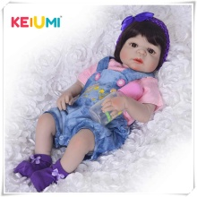 KEIUMI New Arrival Baby Girl Reborn Dolls Kids Toy Full Silicone Vinyl 23'' 57 cm Real Life Baby Reborn Doll COLLECTION цена
