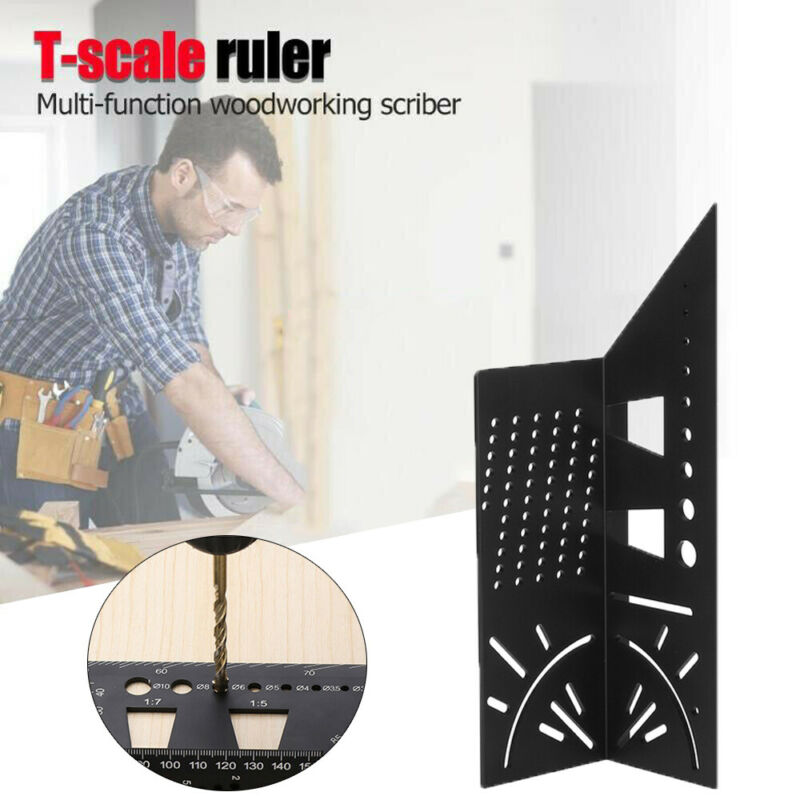 Multi-Function Square 45 Degree 90 Degree Ruler 3D Woodworking Stop Type Gauge Stop Point Ruler Angle Measurement Square Ruler
