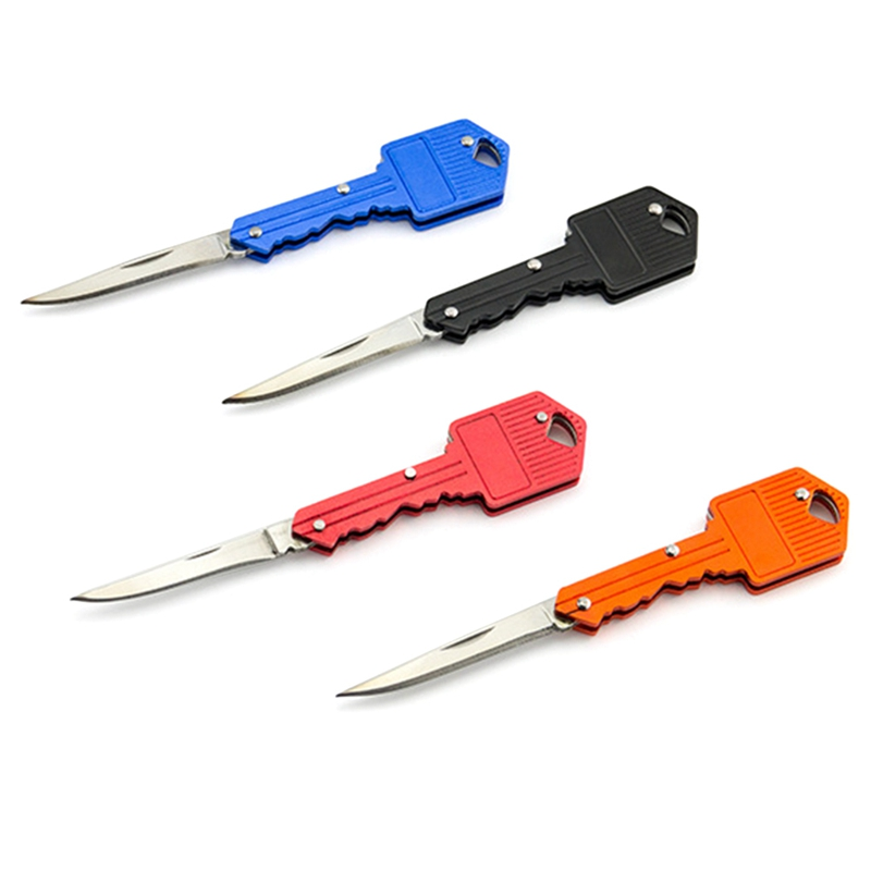 Portable Camping Outdoor Survival Pocket Folding Key Shape Ring Knife Tool Peeler Mini Camping Key Ring Knife Tool Multicolor
